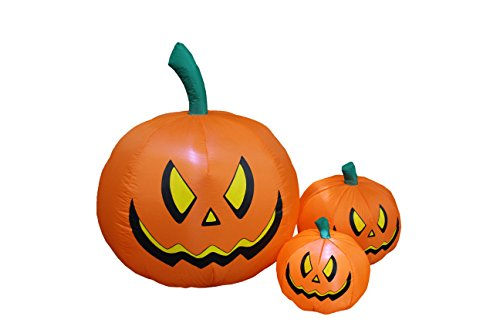 BZB Goods 4 Foot Tall Halloween Inflatable Three Pumpkins LED Lights Decor Outdoor Indoor Holiday Decorations, Blow up Lighted Yard Decor, Lawn Inflatables Home Family Outside -