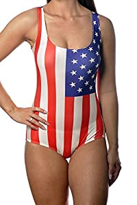 USA Flag One Piece Womens Swimsuit Size Medium