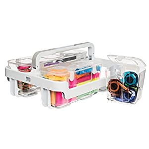 Deflecto Desk Supplies Organizer Caddy, Three Clear Compartments (29003)