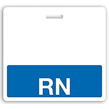 amazon com rn horizontal badge buddy with blue border by