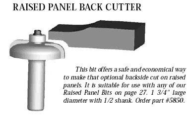 Whiteside Router Bits 5850 Raised Panel Back Cutter