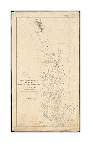 1890 Wall Map Alaska of first or Southeastern district of Alaska Relief shown by hachures.Oriented with north to upper right.|Ready to Frame|Historic Antique Vintage - Costume Hepburn Audrey Diy