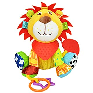 OASMU Baby Toys, Pram Toys, Gift Colorful Lion Infant Stroller Toys Washable Squeaker Car Toys, Kids Hanging Toy for Crib with Teethers (Lion)