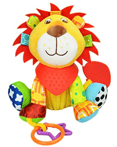 OASMU Baby Toys, Pram Toys, Colorful Lion Infant Stroller Toys Washable Squeaker Car Toys, Kids Hanging Toy for Crib with Teethers (Lion)