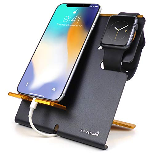 LXORY XStand2 Stand and Phone Dock - 2 in 1 Duo Charging Station Compatible With All iPhone and Apple Watch Models (38mm, 42mm Series 3,2,1) - Aluminium Charger Holder (V2 Black-Orange)