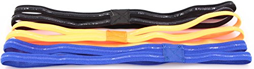 Headbands For Women's Hair Non Slip - Womens Yoga Headbands Pack Of 3 Elastic Headband Double Strip Hairband Antiskid Girls Headwear For Yoga, Running, Sports & Exercising (Black/Blue/Orange, 3PCS)