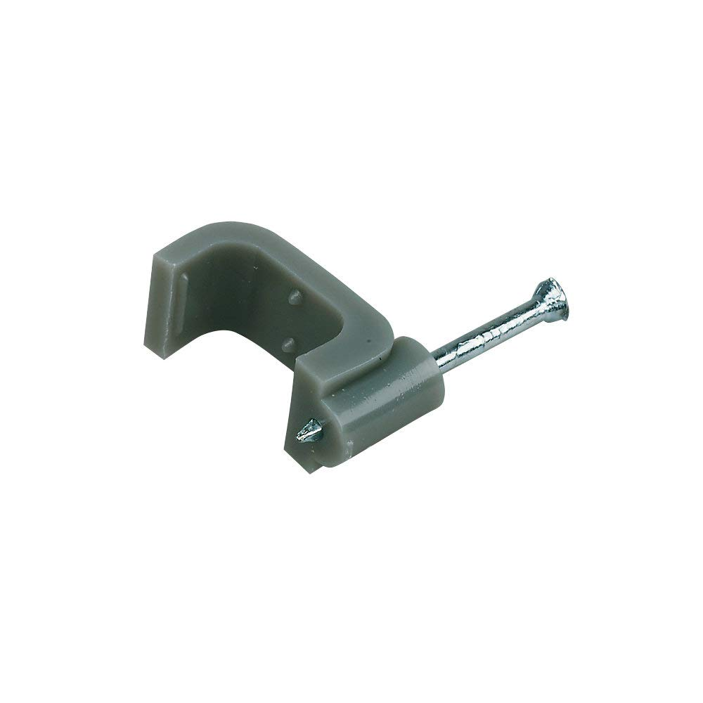 Cable-Tex Flat cable clips 100 Pack for 2.5mm twin /& earth Grey