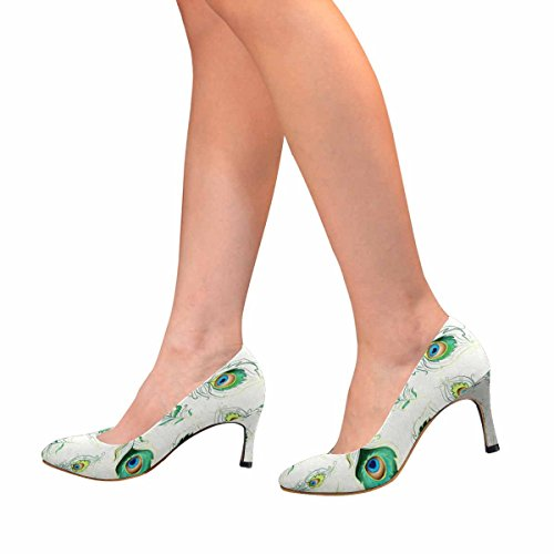 InterestPrint Womens Classic Fashion High Heel Dress Pump Beautiful Pattern With Colorful Peacock Feathers rOLed