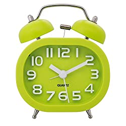 Konigswerk Non-ticking Quartz Analog Bedside Twin Bell Alarm Clock With 3D Numerals and Loud Alarm (Green) AC045G