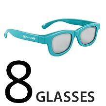 Compatible (Blue) Epson ELPGS02B Passive 3D Glasses by Quantum 3D 8 Pack