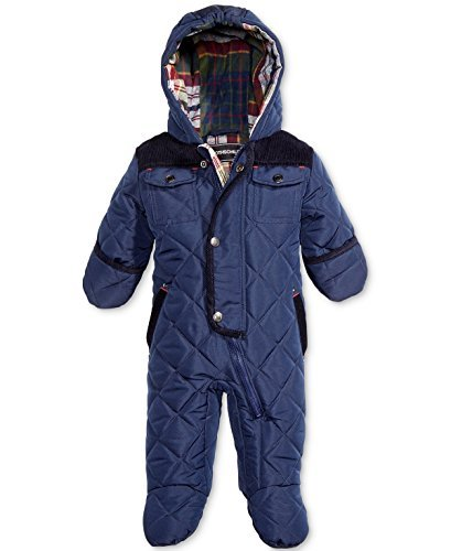 Corduroy Insulated Coat - Rothschild Baby Boys' Hooded Dark Blue Pram, Size 6/9M