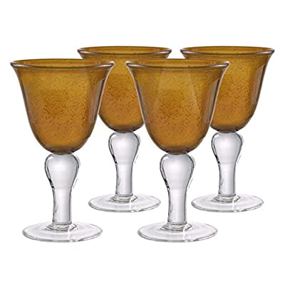Artland Iris Double Old Fashioned Glasses, Amber, Set of 4