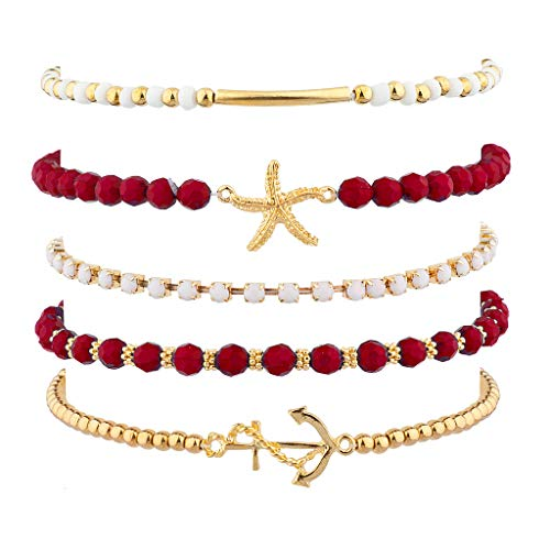 Lux Accessories Red Nautical Starfish Gold Tone Anchor Arm Candy Set (5PC)]()