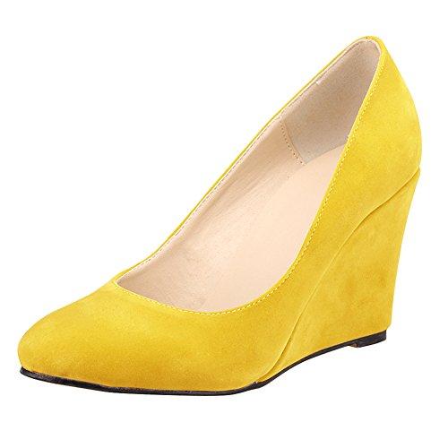 Women's Velvet Patent Leather Dress Wedge Heel Pump Office Velvet Yellow ZmlynNzXZ