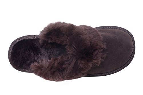 Slippers House Soft Genuine Wool Ladies W74 Brown Lining Leather Shoes Mule Sheepskin qwxgwI4R