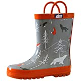 JAN & JUL Natural Rubber Gumboots Toddler Boys Kids (Toddler Size 7 with Handles, The Rockies)