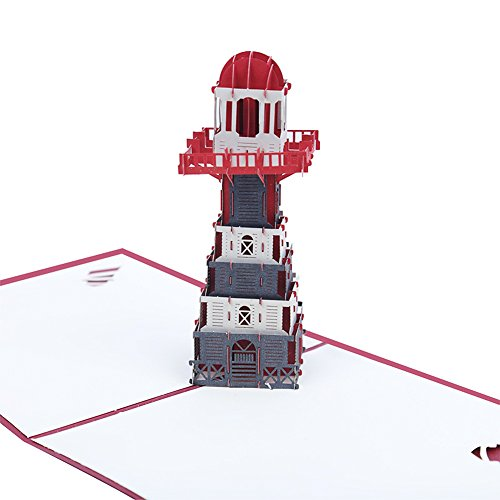 Echeer Paper Lighthouse Pop up Birthday Greeting Cards, Wedding Congratulations Cards, 3D Pop Up Greeting Cards Handmade Anniversary Wedding Cards Graduation Invitation Cards