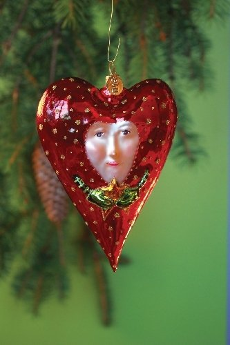 Patience Brewster Red Heart with Star Glass Ornament - Krinkles Christmas Décor New 08-30852