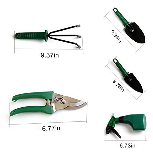 JARAGAR Garden Tool Set, 5PCS Garden Tool Kit Hovel Rake clippers Gardening Hand Tools Plant Care Tool with Hard Storage Case Gardening Gifts for Men Women Include Trowel Pruners Rakes Water Sprayer