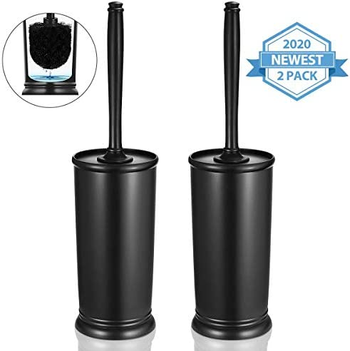 Homemaxs Toilet Brush and Holder 2 Pack 【2020 Upgraded】 Deep Cleaning Toilet Bowl Brush Set Ergonomic Sturdy Bathroom Accessories Plastic(Black)
