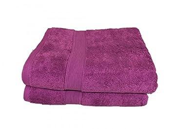 Lote de 2 grandes toallas de baño - 100 x 150 - Esponja de 600 G/m² 100% algodón - Viola: Amazon.es: Hogar
