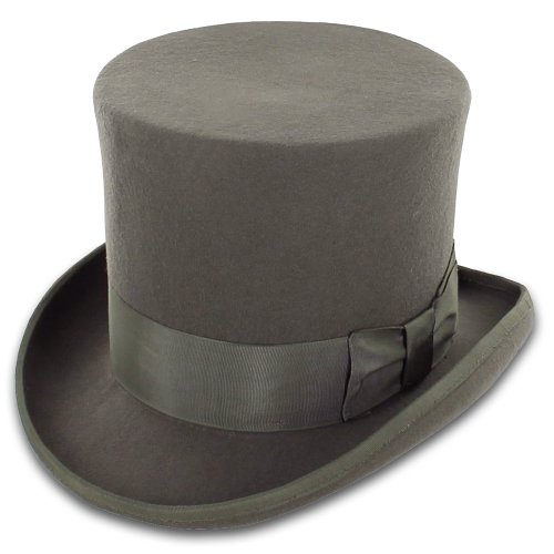 [Belfry John Bull Theater-Quality Men's Wool Felt Top Hat in Gray or Black (S, Grey)] (Pork Pie Hat For Sale)