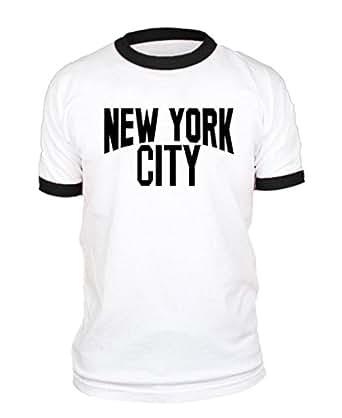 NEW YORK CITY lennon photo nyc retro - RINGER T-Shirt, S, White w/Black Rings