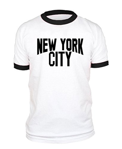 The Goozler New York City Lennon Photo NYC Retro - Ringer T-Shirt, L, White w/Black Rings ()