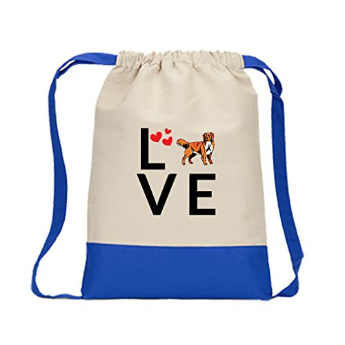 Canvas Drawstring Contrast Bag Love Hearts Nova Scotia Duck Tolling Retriever Royal Blue (Heart Scotia Nova Duck)