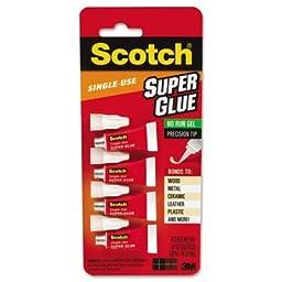 Scotch Super Glue Gel 4/Pkg-.017oz