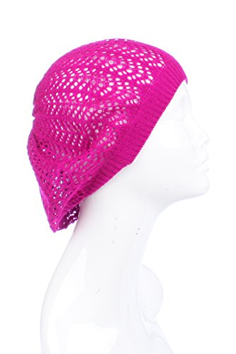 BSB AN Ladies Beret Beanie Slouchy Hat Sweet Embroidered Crochet Fuchsia Pink (Fuchsia Crochet)