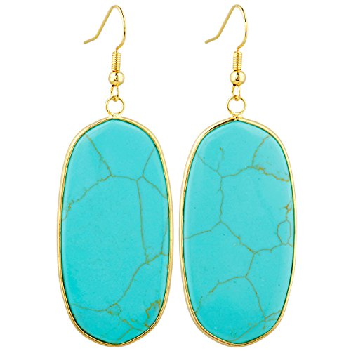 SUNYIK Women's Green Howlite Turquoise Oval Dangle Earrings