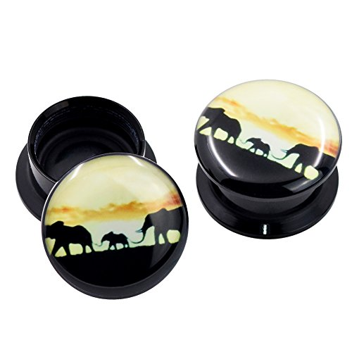 Longbeauty Pair Acrylic Ear Gauges Plugs Flesh Tunnels Expanders Screw Howling Elephant Sunset Punk Jewelry 16MM (Tunnel Ear Flesh Acrylic Plugs)