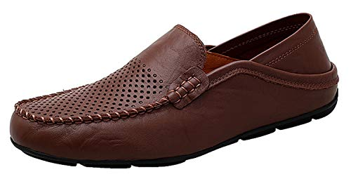 Go Tour Men's Premium Genuine Leather Casual Slip On Loafers Breathable Driving Shoes Fashion Slipper Dark Brown Punched 7.5/40