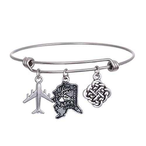 (JJTZX State Bangle U.S. Map Charm Expandable Travel Bracelet Long Distance Relationship Gift Best Friends Bracelet)