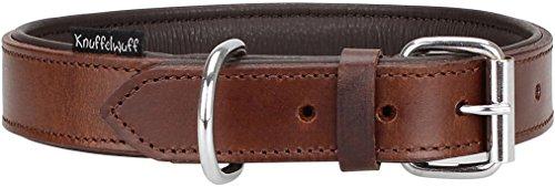 Knuffelwuff Weiches Lederhalsband Hund Hundehalsband Basic Plus Braun M 28-36 cm