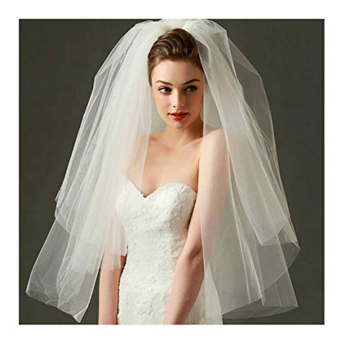 CanB Bridal Wedding Veils Chapel Length 3 Tier Tulle Veil with Comb Bridal Hair Accessories for Women (Ivory)