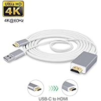 USB-C to HDMI Cable 6Ft with Charging Port CoocoTech USB Type C to HDMI Cable with USB Charge Port MHL Adapter Cable Support 4K@60Hz for Samsung Galaxy S8/S8+, MacBook Pro 2017/ 2016, LG G5 and Other