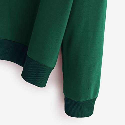 Rond 2018 À Imprimée Nouvelle Confortable Col Pullover Élégant Sweatshirts Mode Vert Shobdw Automne Blouson Outwear Hiver Capuche Femmes Lettre Tops Manteaux Manche Longue Veste Uqad5wxO