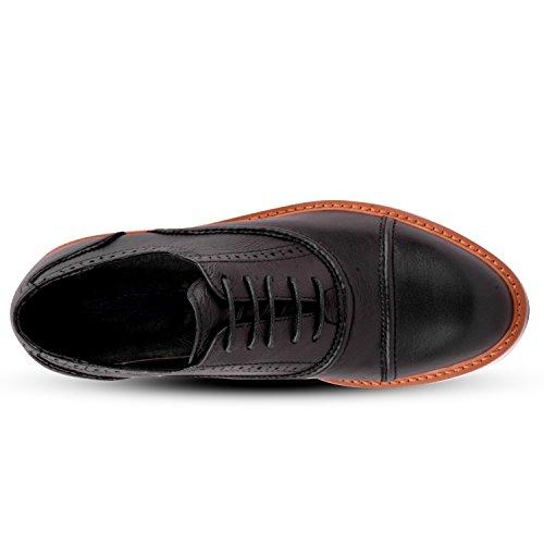Santimon Heren Lederen Cap Teen Zakelijke Oxford Schoenen Zwart