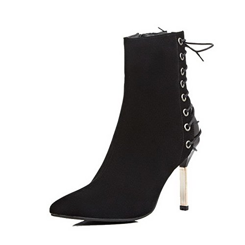 Women's Frosted Closed Pointed Toe Solid Low-top High-Heels Boots