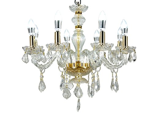 MonaLisa Gallery Crystal Chandeliers Pendant Light Fixture, Gold Finish, MG-708/D-8L W28xH26-Gold