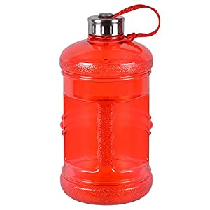 2.3 Liter BPA Free Reusable Plastic Drinking Water Bottle Jug Container w/ Hand Holder Canteen and with Stainless Steel Cap - Red