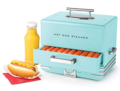 Nostalgia HDS248AQ Extra Large Diner Style Hot Dog Steamer, 24, Aqua (Dog Dumpling)