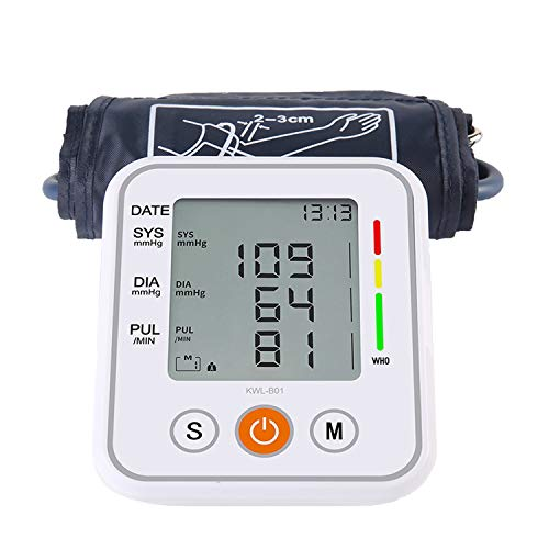 Blood Pressure Monitor Battery Operated Blood Pressure Cuff Voice Broadcast Portable Heartbeat Monitor Large Display with Cuff and ()