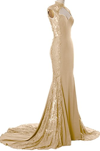MACloth Women Mermaid High Neck Long Prom Dress Lace Jersey Formal Evening Gown Champagne