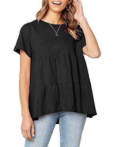 Sanifer Women's Peplum Tops Summer Short Sleeve Ruffle Loose Shirt Blouse
