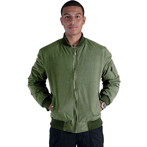 Men's Casual Bomber Jacket Windbreaker Outdoor Sportswear Coat Olive X Large