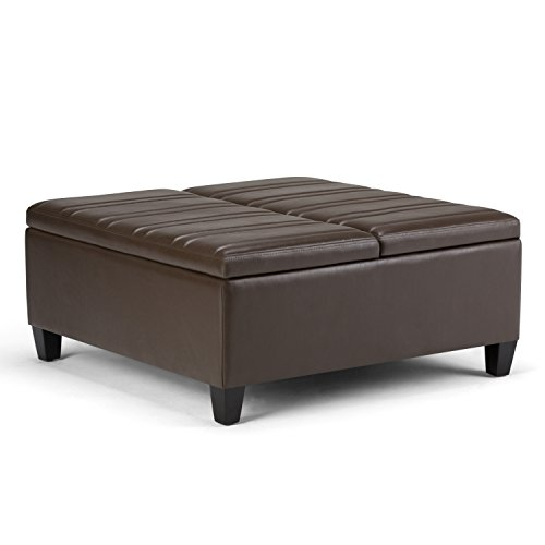Simpli Home Ellis Coffee Table Storage Ottoman, Chocolate Brown