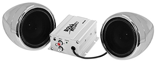 [BOSS Audio MC400 All-Terrain, Weatherproof Speaker And Amplifier Sound System, Two 3 Inch Speakers, Compact Amplifier, Inline Volume Control, Ideal For Motorcycles/ATV and 12 Volt Applications] (Boss Audio Systems)